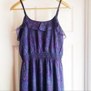Express Ruffle Maxi Dress in Purple Floral Print